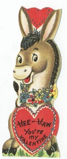 Vintage Valentine donkey /heart