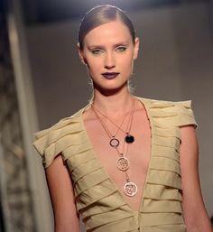 Fashion designer britta von basedow walking the catwalk at the london jewellery show..