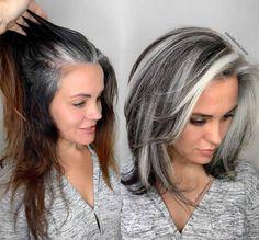 Medium Hair Styles, Curly Hair Styles, Grey Hair Styles For Women, Silver Hair Styles, Gray Hair Women, Hair Color For Women, Grey Hair Transformation, Gray Hair Highlights, Grey Hair Lowlights