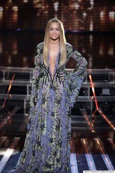 Rita Ora goes braless while Cheryl rocks yellow maxi-dress on X Factor Rita Ora, Star Fashion, Fashion News, Yellow Maxi Dress, Maxi Dresses, Cheryl Fernandez Versini, Grey Gown, Atelier Versace, Donatella Versace