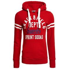 Superdry Trackster Hoodie ($65) ❤ liked on Polyvore featuring tops, hoodies, red, women, red hooded sweatshirt, superdry hoodies, hooded pullover, striped hoodie and cotton hoodie