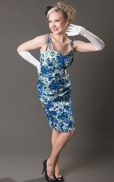 """Miss J and Blue Floral Summer Wiggle Dress """"This dress feels absolutely fantastic!"""" https://www.misswindyshop.com/"""