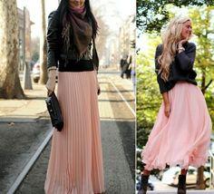 rosa Maxirock schwarze Lederjacke