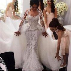 Luxo ver através de vestido de manga comprida de uma linha de vestidos de casamento com pérolas frete grátis NB039(China (Mainland))
