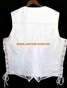 Mens white leather vest MLV730 custom made by Leather-Shop,Biz white vest back pic