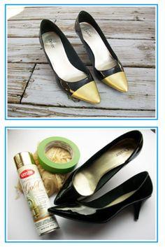 DIY Metallic cap toe pumps
