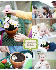 Dirt cake! Could do with construction toys too, instead of flowers.