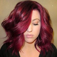 Wavy Burgundy Lob For Thick Hair...love the colour