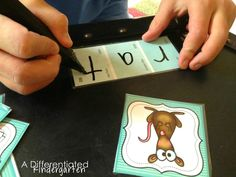 Make word work engaging during literacy centers or Daily 5 when you use laminated paint chips. Students segment and write the letter sound they hear in the word.