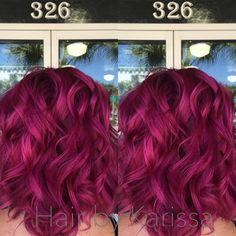 Mermaid hair! Pink hair, magenta hair, Kenra color, Kenra creatives, anything but ordinary, funky hair, curly hair, curls, short hair, lob,  Hair by Karissajoy, Titusville, Florida
