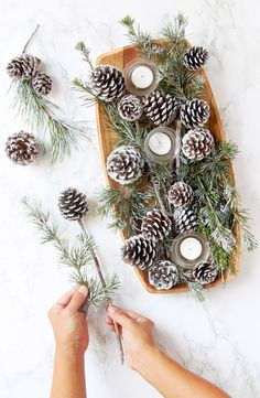 DIY Snow Covered Pine Cones & Branches Ways!} 3 minute gorgeous DIY snow covered pine cones & branches in 3 ways! Easy pinecone craft for winter weddings, farmhouse, Thanksgiving, Christmas decorations! - A Piece of minute gorgeous DIY snow covered p. Pine Cone Art, Pine Cone Crafts, Christmas Projects, Holiday Crafts, Holiday Decor, Pine Cone Christmas Decorations, Christmas Pine Cones, Rustic Christmas, Christmas Crafts