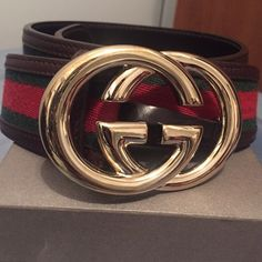 Gucci belt - I DON'T TRADE‼️ percent authentic women's Gucci belt in PRISTINE condition this is the classic brown leather with green and gold webbing interlocking GG gold buckle no imperfections on this belt.. was worn mayb 3 times the holes are still perfect and tight I don't have the box this belt was stored in my belt case I have a lot  of belts no space to store all boxes Gucci Accessories Belts