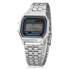 vestido reloj de las mujeres del reloj multifunción banda de aleación de línea digital lcd cuadrado - USD $ 5.99