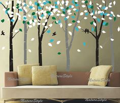 6 Birch Tree with Colorful leavesNursery Wall by NatureStyle