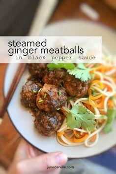 Steamed Ginger Meatballs in Black Pepper Sauce