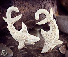 "3"" tall 2g shark earrings carved from mammoth fossil. God damn."