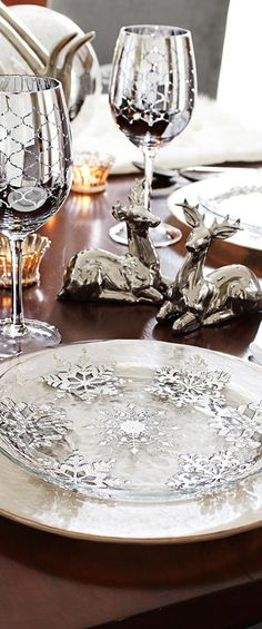 Put Silver snowflakes onto bottom of clear plates...