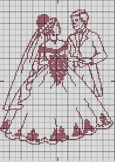 Wedding couple x-stitch Cross Stitch Heart, Cross Stitch Flowers, Filet Crochet, Cross Stitching, Cross Stitch Embroidery, Cross Stitch Silhouette, Wedding Cross Stitch Patterns, Swedish Weaving, Crochet Wedding