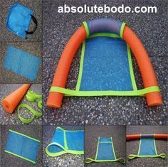 Repurpose a pool noodle and mesh bag into a functioning floatation formation. Materials: 3 1/2″ dia x 5′ long pool noodle, 10M strapping, 16″ x 16″ mesh bag Cut sides and top of mesh bag & sew strapping onto long sides. Fold over 6 1/2″ at 1 end to create sleeve for noodle. Attach 65″ of strapping to opposite end to create loops for noodle. Toss in water and ENJOY!