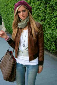Brown Leather Jacket Outfit Women - Coat Nj