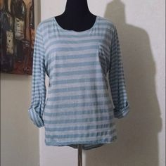 Blue striped pull-over blouse 45% cotton, 40% polyester, 15% flax Faded Glory Tops Blouses