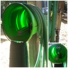 What a great idea for those of us who love to work in the yard/garden/ranch on a daily basis. I love how the hose is easily coiled at a comfortable level (hose reels break) and inside the bucket you can find soap and a handy dandy scrub brush. Genius. The hanging towel off the the buckets handle is just icing on the cake. Also, check out the how the hose spigot  is at waist level and the spray nozzle has a great little holder so you can wash up without holding the hose.