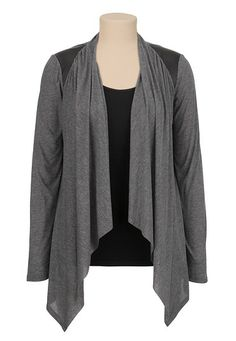 Faux leather shoulder Open Front Draped Cardiwrap available at #Maurices