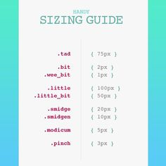 Handy sizing guide for making vague edits less so.