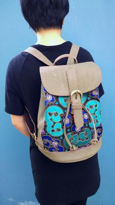 Grey Hmong Boho Leather Embroidery Bag Ethnic Backpack Free