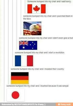Senpai... I love how the picture for America is the only one that's not actually a flag XD Fun Facts, The Other Guys, Make Em Laugh, My Emotions, Last One, Best Of Tumblr, Funny Tumblr Posts, Nerd, Haha