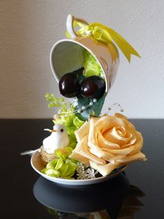 """This is a decorative accessory """"Floating Cup with White Bird and Tea-Rose"""". It can be used as home decor, wedding accessory, and for any happy events.  Size: height 8,3"""" (21cm), diameter - 5,5"""" (14 cm)"""