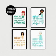 PROMO: Lot de 4 Posters 21x30cm citations Princesse (version2) - poster pour enfant pour cadres décoration chambre