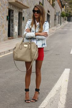 jeans jacket beige handbag red skirt summer outfits womens fashion clothes style apparel clothing closet ideas