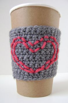 Coffee cozy Grey with pink stitched heart by The Cozy Project $14. Looks easy to do!