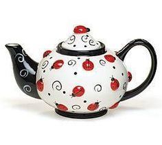 Ladybug With Swirls Teapot For Kitchen Decor And Teas: Handwash only/FDA approved.brLadybugs & Swirls hand-painted raised ceramic X Holds 46 oz.brSet of Tea Pot Set, Teapots And Cups, Ceramic Teapots, Chocolate Pots, Swirls, Tea Time, Vases, Tea Party, Tea Cups