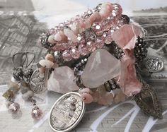 My Funny Valentine Rose Quartz Labradorite BOHO Rosary by angels9