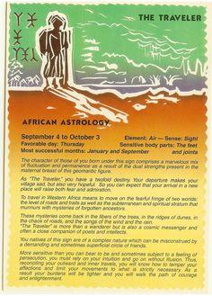 Zodiac Unlimited African astrology postcard: The Traveler Chinese Astrology, Astrology Zodiac, Zodiac Signs, Virgo, Astrology Books, Astrology Numerology, Astrology Chart, African Mythology, Numerology Chart