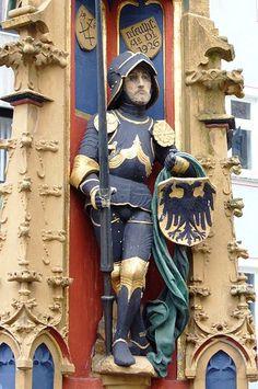 Knight at the Box Fish Fountain, 1482, Michael Erhart, Ulm, near city hall
