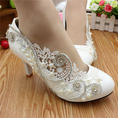 4794675881c8 Sorbern Luxury Hollow Out Lace Wedding Shoes Ladies Pumps High Heels  Crystals Low Heels Stilettos Bridal Shoes Pump Ladies