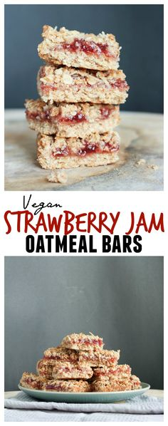 THE BEST Vegan Strawberry Jam Oatmeal Bars! These are my new favorite snack, breakfast and dessert. They're so sweet and gooey in the middle and they have such a rich and flaky base. Everyone I've served them to has LOVED them! Paleo Dessert, Vegan Desserts, Vegan Recipes, Healthier Desserts, Bar Recipes, Vegan Sweets, Vegan Foods, Vegan Snacks, Brownie Recipes