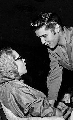 Elvis and Maila Nurmi (aka Vampira) in Las Vegas, 1956.