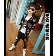 http://fashiongarments.biz/products/2016-children-clothing-set-baby-boys-skull-print-clothes-suit-kids-fashion-long-sleeve-coat-jacket-harem-pants-sets-tops-trouser/,   *Glittering gilt skull print *Engaging and delicate three-dimensional personality skull zipper pendant *Threaded collar stitching *High Quality And 100% New Material:Cotton Blends Baby Girls clothing set Fit 2-8 T Size Information: 1cm = 0.394inch Size  Dress Length     Bust*2        Sleeve Length    Pants Length…