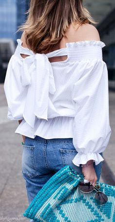 White Back Bowknot Tie Pinstriped Off The Shoulder Blouse #Women