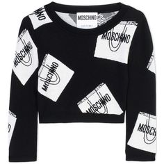 Moschino Long Sleeve Jumper ($370) ❤ liked on Polyvore featuring tops, sweaters, black, black long sleeve top, jumpers sweaters, moschino, black top and moschino jumper