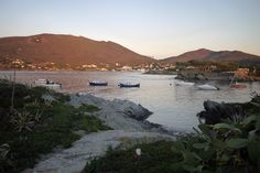 View of Cadaques village from the island at sunrise.