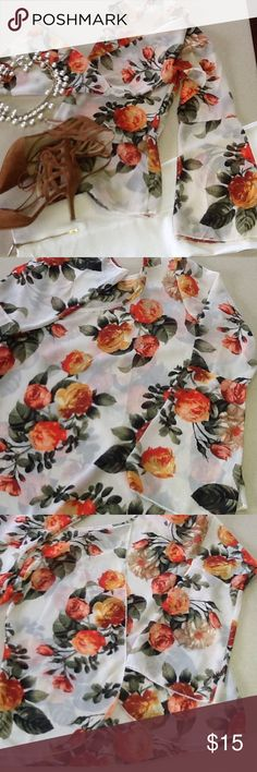Very pretty sheer blouse💕 Beautiful sheer blouse bell sleeves opens at the back, rose print in orange, peach and green...very feminine💕💕 Tops Blouses