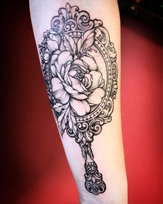Girly Tattoos, Cute Tattoos, Beautiful Tattoos, Flower Tattoos, Forearm Tattoos, Body Tattoos, New Tattoos, Sleeve Tattoos, Vintage Mirror Tattoo