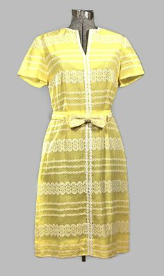 1960 Henry Lee Yellow Cotton Eyelet Dress