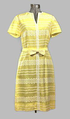 1960 Henry Lee Yellow Cotton Eyelet Dress