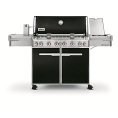 "74""Wx30""D Weber Summit E-670 Black Porcelain Enamel 6-Burner (60,000-BTU) Liquid Propane Infrared Burner Gas Grill with Side and Rotisserie Burners and Integrated Smoker Box"